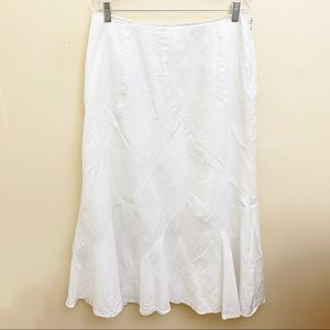 Carole Little Maxi Linen White Flare Skirt Sz 14